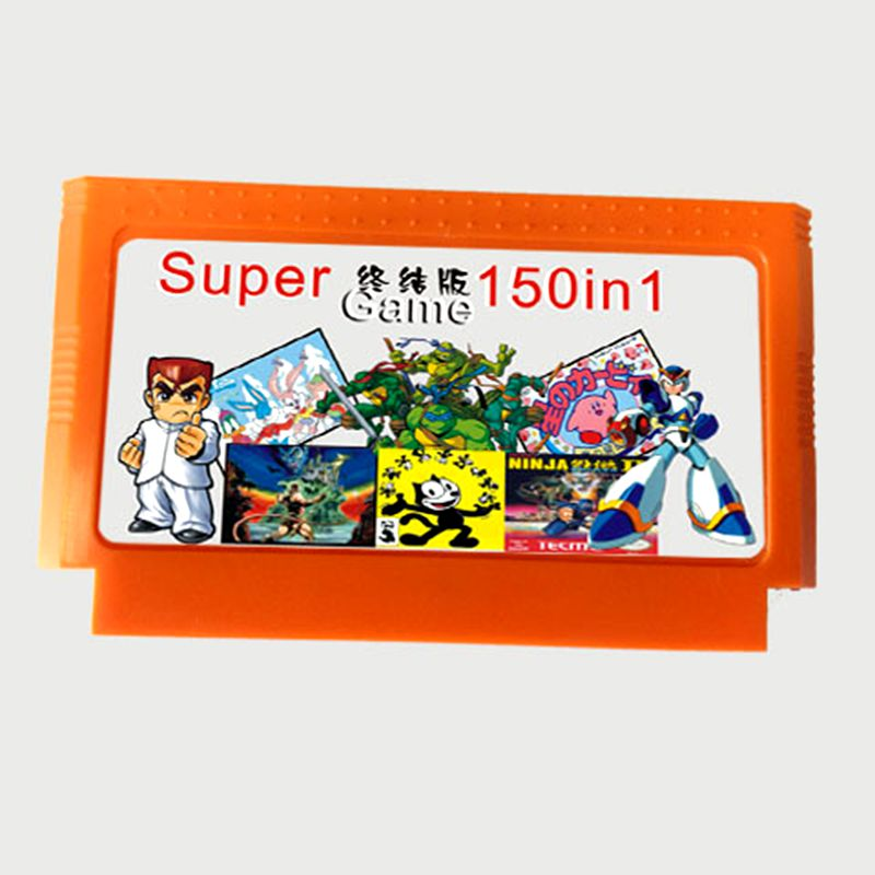 Top quality 8 bit Game Cartridge 150 in 1 with Rockman 1 2 3 4 5 6 NINJA TURTLES Contra Kirby's Adventure ( No Battery Save)