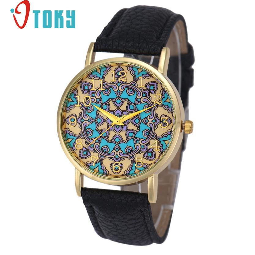 Hot Hothot Sales  Watch Women Faux Leather Flower Pattern Analog Quartz  Casual watches relogio feminino bayan kol saati jy28 hot hothot sales colorful boys girls students time electronic digital wrist sport watch free shipping at2 dropshipping li