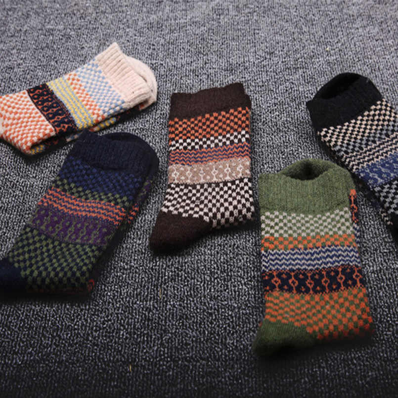 PF Men Socks Retro Style Thicken Woolen Warm Socks Grid Pattern Calzini Uomo Dress Socks Breathable Male Sock Meias Homem WZ030