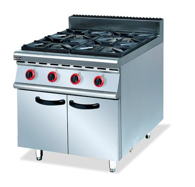 Commercial Super Quality Stainless Steel Gas 4 Burners Range With Cabinet  Kitchen Gas Cooking Equipment