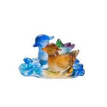 LSL014  Liuli Crystal Mandarin Duck Statue Paperweight Wedding Venue Decoration Gifts