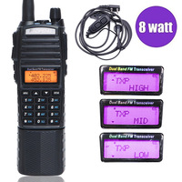 Baofeng UV 82 Plus Walkie Talkie 8W Powerful 3800mAh Extended DC Battery UV82 Dual PTT Band Radio Transceiver Amateur Ham UV 82