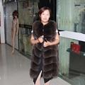 90CM Real Fox Fur Luxury Long Vest Jacket with Diamond Shape and Stitching Sheep skin Autumn Winter Slim Plus Size Hot Sale
