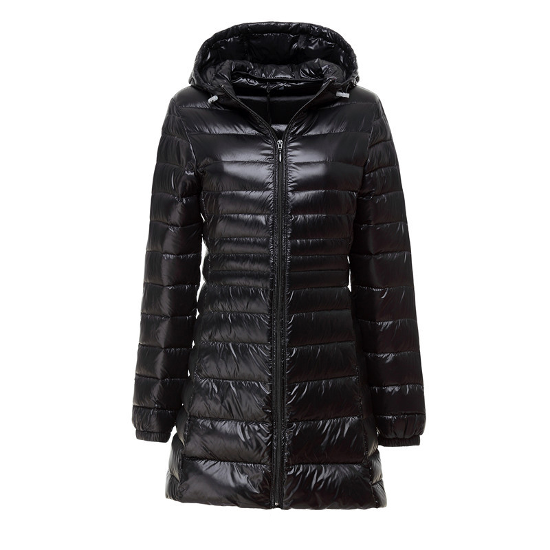 New Winter Ultralight White Duck Down Jacket Women Casual Slim   Parkas   Hooded Coat Female Long Down Lightweight Jacket 6XL 7XL