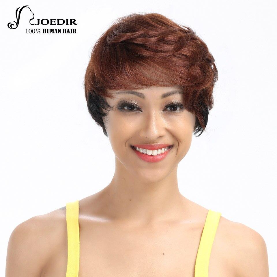 Joedir парик Человеческие волосы Искусственные парики для Для женщин машина сделала бразильский Реми яки прямые волосы парик 21 Цвета выбор Бе...