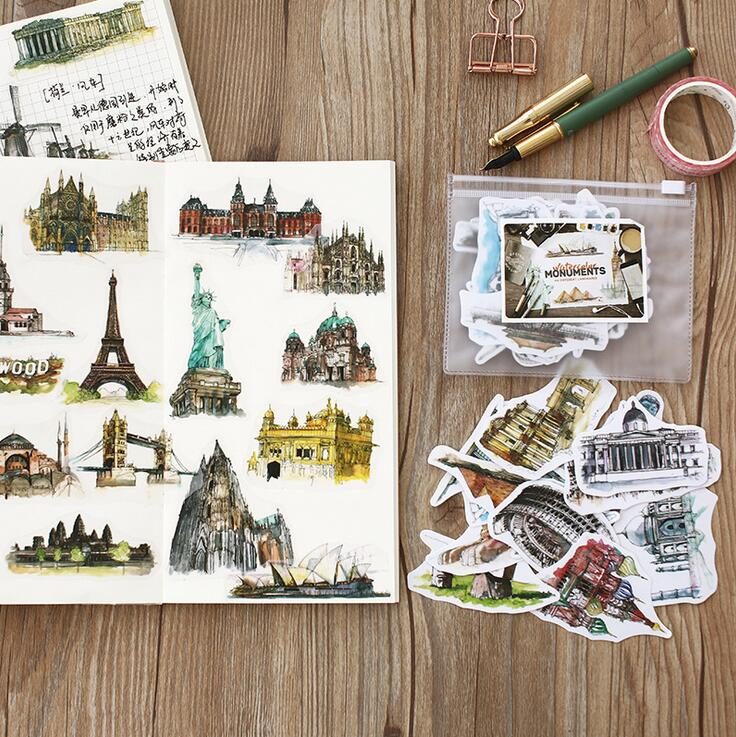 Travel Around The World Watercolor Hand-Painted Building Decorative Stickers Adhesive Stickers DIY Decoration Diary Stickers