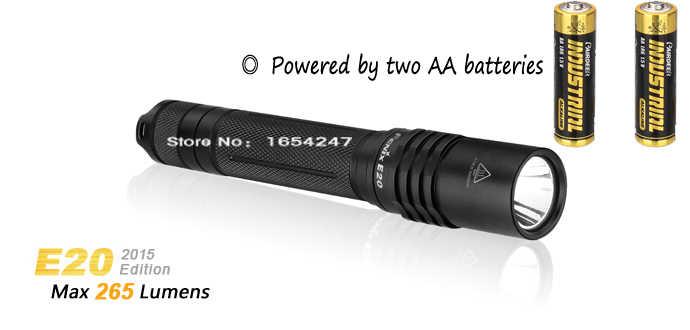 Новинка 2015 года! Fenix E20 CREE XP-E2 светодиодный фонарь 265 люмен 3 режима боковой переключатель Интеллектуальный фонарик с функцией памяти фонарь E25 v