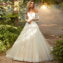 Waulizane Elegant Inner Champagne A Line Wedding Dresses With Symmetrical Button Closure Skin Color Tulle Gown