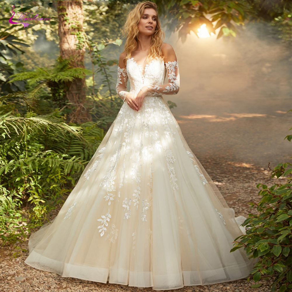 Waulizane Elegant Inner Champagne A Line Wedding Dresses With Symmetrical Button Closure Skin Color Tulle Wedding Gown