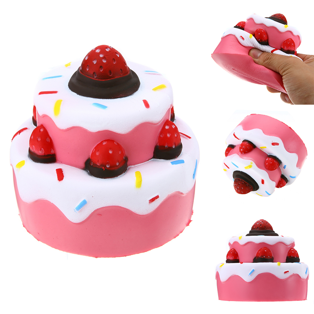 Hearty Jumbo Squishy Strawberry Cake Elastic Environmentally Pu Mobile Phone Straps Super Slow Rising Toy Cute Kids Gift Random Color Latest Technology Mobile Phone Straps
