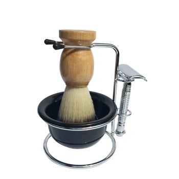 b0c196de27 4 unid/set afeitar cepillo/kit con recipiente de acrílico SEGURIDAD DE  METAL soporte para regalo del Padre