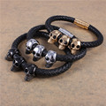 Stainless Steel Genuine Leather Black PVD Gold Plated Bracelets Bangles Skull Men Magnet Clasp Brand Designer Jewelry Wholesales