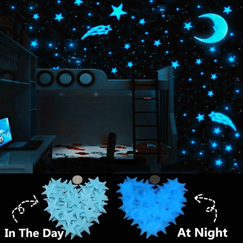 US $1.1 42% OFF|80 Pcs 3cm Dark Blue Night luminous Stars Fluorescent 3D  Wall Stickers Children\'s Bedroom Stickers Glow In The Dark Stars-in Wall ...