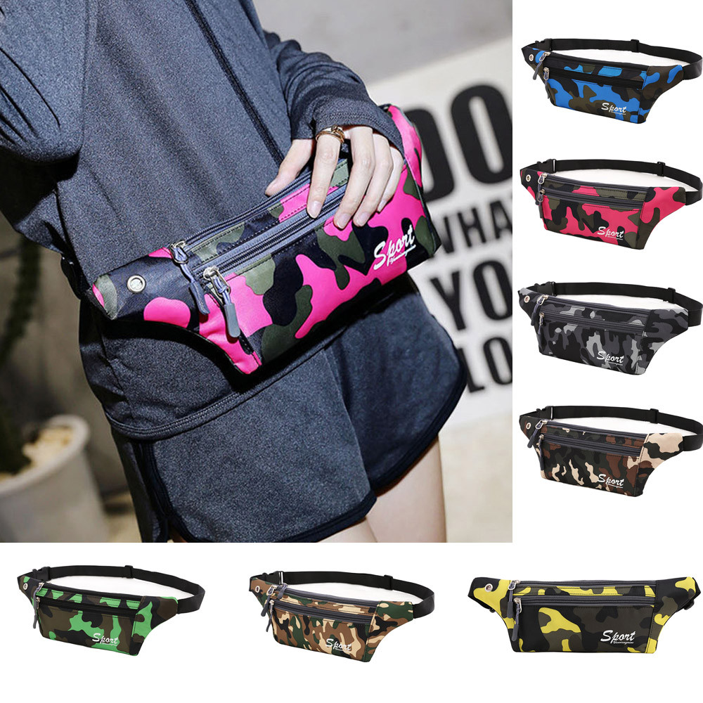 Punk Style Camouflage Fanny Pack For Women Party Belt Bag Waterproof Sports Canvas Waist Bag Crossbody Shoulder Bag Chest Pack