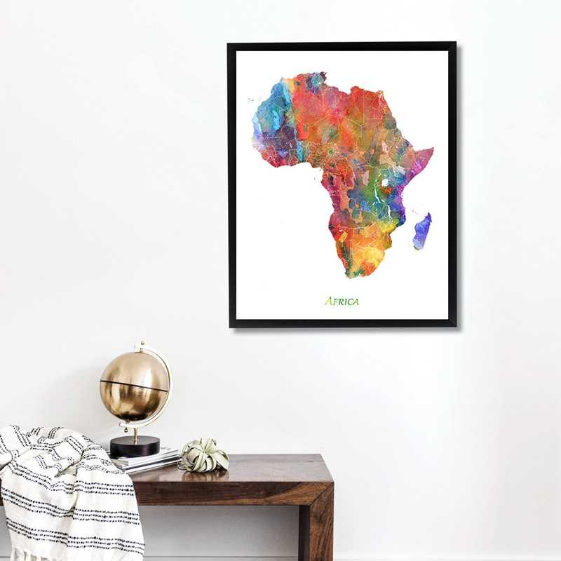 Africa Map Wall Art Prints and Poster , Watercolor Africa Map Art Poster Canvas Painting Wall Picture Home Office Decoration