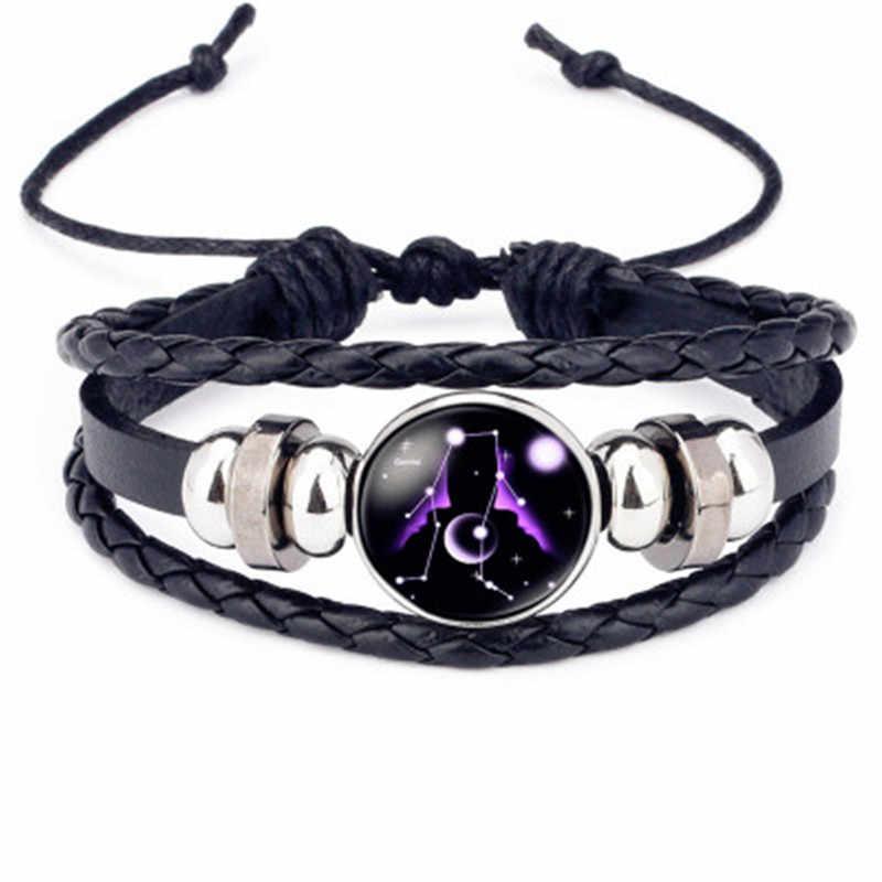Charme luminoso 12 constelações pulseira de couro signo do zodíaco com grânulos pulseiras para homens brilho na escuridão jóias