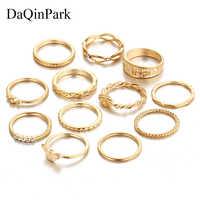 Gold Farbe Ring Set 12 teil/satz Charme Midi-Finger-Ring Set für Frauen Vintage Boho Knuckle Party Ringe Punk Schmuck geschenk für Mädchen