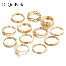Gold Color Ring Set 12 Pc/set Charm Midi Finger for Women Vintage Boho Knuckle Party Rings Punk Jewelry Gift Girl