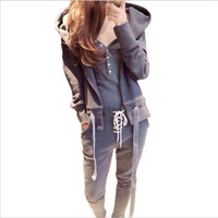Autumn Tracksuit Sets Korean Female 3 pieces Sets Woman Hoodies Suit Long Sleeve Gray Round Collar Casual Sweater