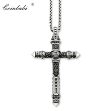 Link Chain Necklace Cross Rebel Gift For Men Women, Thomas Style Heart TS 925 Sterling Silver Fashion Jewelry