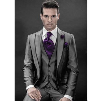 Fashion new men's suit gray lapel single-breasted men's ball gown and groomsmen dress (jacket + pants + vest) custom made