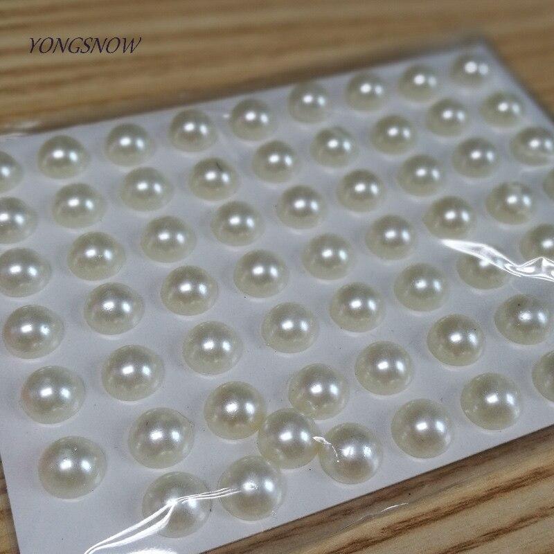 63pcs/sheet  Flatback Imitation White Pearls Acrylic Self Adhesive Sticker Mobile Nail Art Decals DIY Accessories