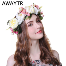 AWAYTR 1 PC Handmade Woman Girls Artificial Flower Headband Party Wedding Fabric Flower Wreath Hair Turquoise Flower Crown
