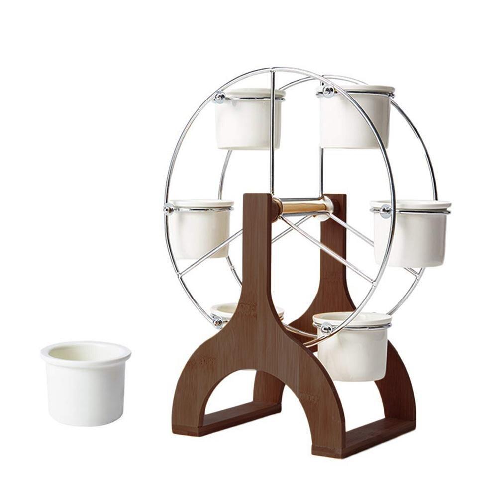 Ensemble Simple Succulent Pot de plante créative maison table Pot de fleur Stand grande roue forme en céramique bassin fleur Pot étagère
