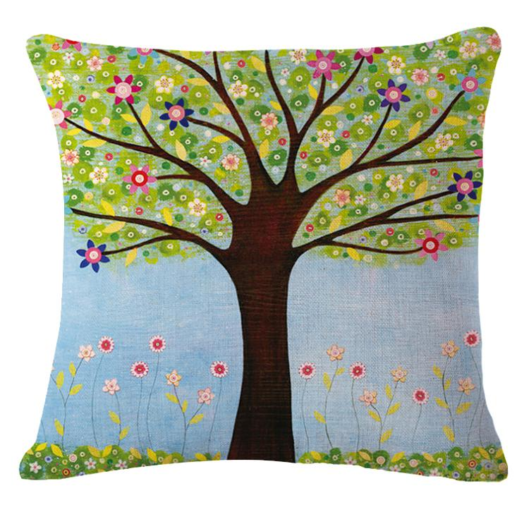 Beautiful tree girl flowers Cushion printed(No Filler) linen Family affection Sofa Car Seat family Home Decorative Throw Pillow