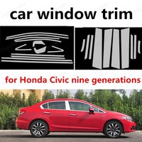 Yeni! Paslanmaz çelik tam araba pencere Trim sütun dekorasyon şeritleri honda Civic için dokuz nesil araba styling