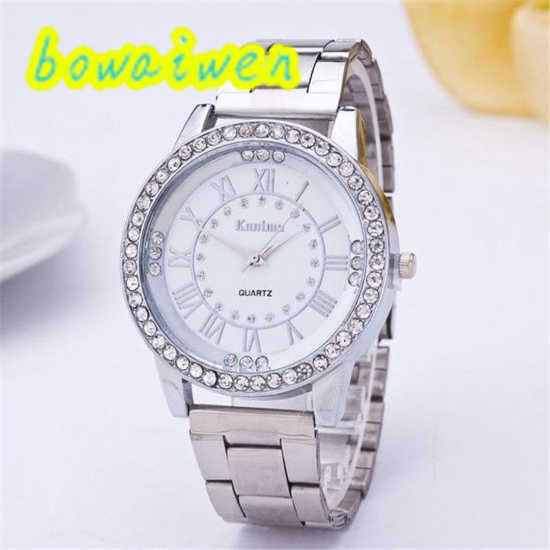 Bowaiwen #8022 Couple Watch Women's Men's Crystal Rhinestone Stainless Steel Analog Quartz Wrist Watch Brand Luxury