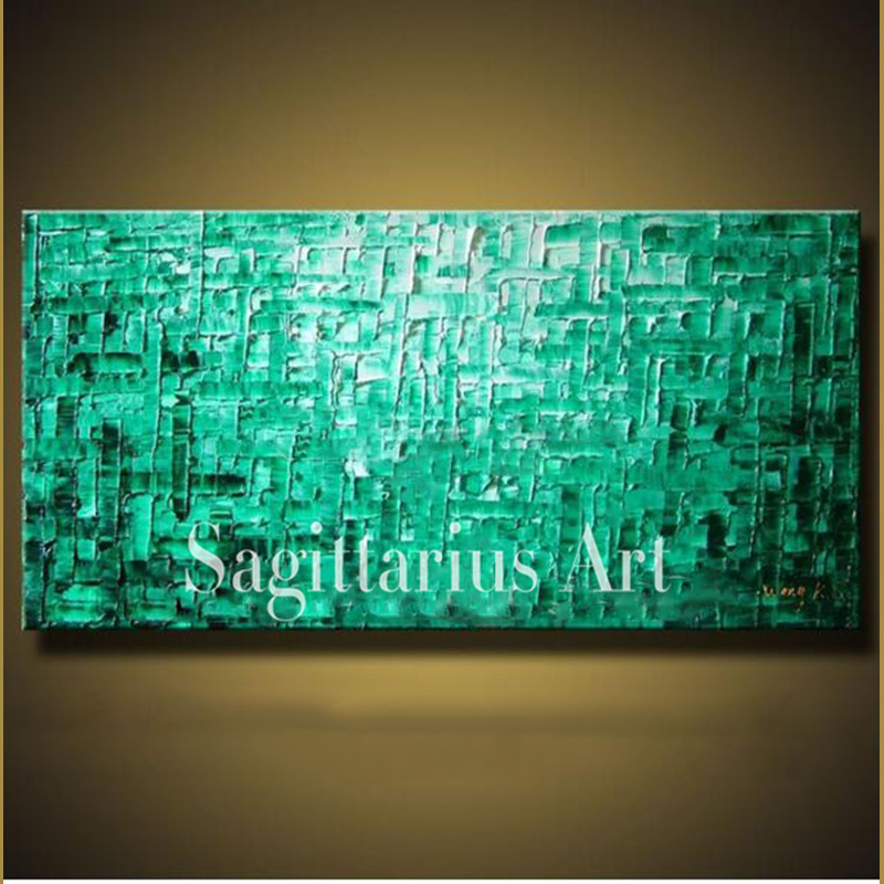 Hand Painted High Quality Modern Palette font b Knife b font Painting Green Oil Metal Wall