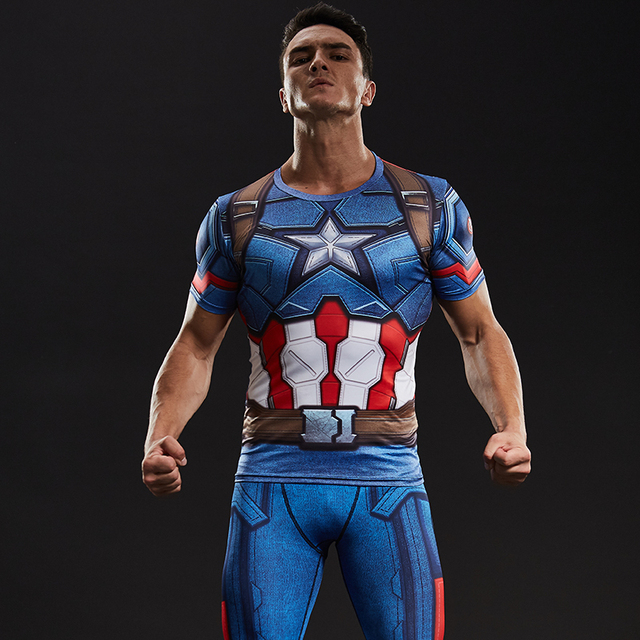 436927736 Captain America Civil War Tee 3D Printed T-shirts Men Compression Avengers  Iron Man Cosplay Costumes Fitness Clothes Male Tops
