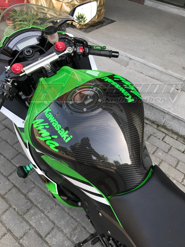 Tank Gas Fuel Cover For Kawasaki ZX10R 2011 2012 2013 2014 2015 Full Carbon Fiber 100%  Twill