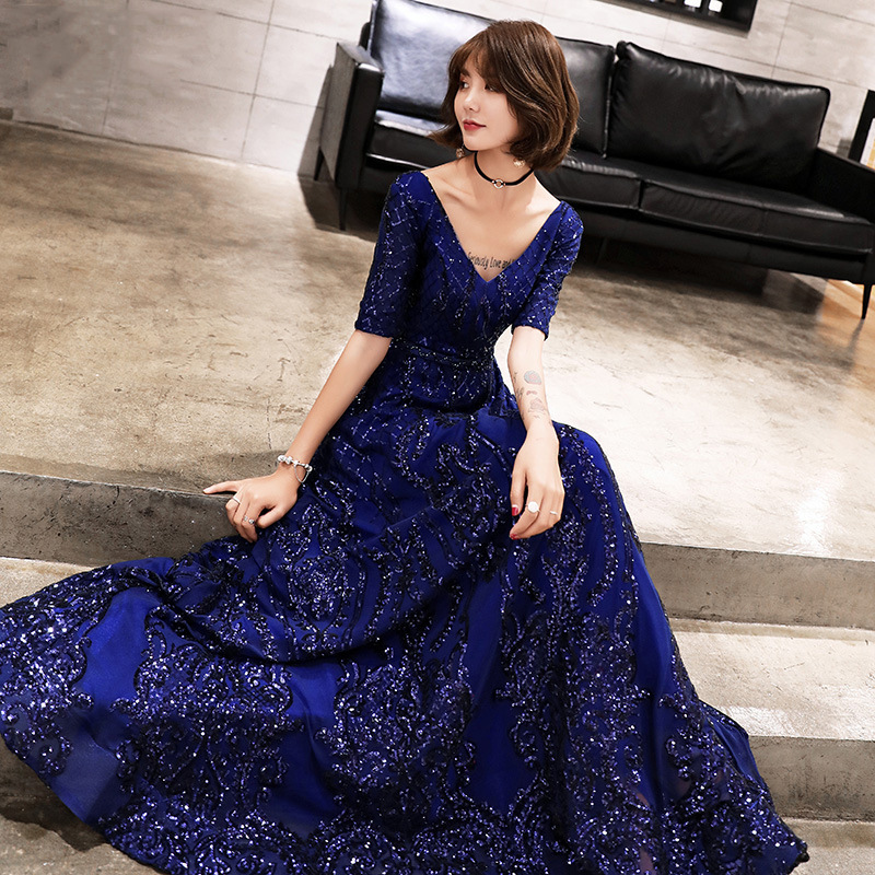 2019   Evening     Dress   Plus Size V-neck Backless Long A-Line Formal Prom   Dress   Elegant Vintage Sequins Zipper Robe De Soiree E412