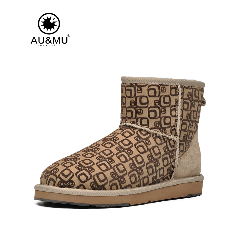 Australian Aumu 2017 New Fashion Winter Ankle 100% Wool Women Boots Fur Snow Boots Non-slip Shoes Woman N053