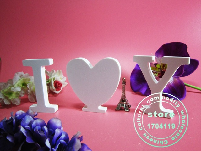 Tuba size  15cm 1pcs Home Decorations Artificial Wood White Letters wooden Letters of Wedding Birthday wedding decorations Gifts 2