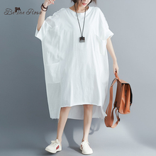 BelineRosa مسلم نمط قميص نسائي اللباس أحجام كبيرة اللباس 4XL 5XL 6XL زائد حجم اللباس تي شيرت فساتين الإناث YPYC0012