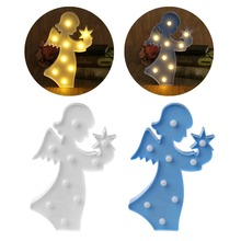 3D Marquee Angel Table Lamp 9 LED Battery Operated Night Light Childrens Room Decor Indoor Lighting