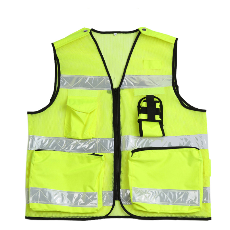 High visibility police safety vest with multi pockets traffic waistcoat with cold-resistant reflective tapes and radio pockets