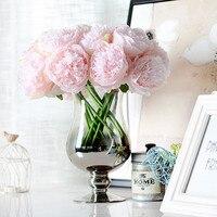 5 Open Buds Heads Bouquet Artificial Rose Silk Flower European Fall Vivid Peony Fake Leaf Wedding