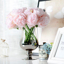5 Open Buds Heads/Bouquet Artificial Rose Silk flower European Fall Vivid Peony Fake Leaf Wedding Home Party Decoration