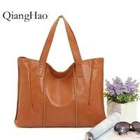 QiangHao Europe America Style Shoulder Bag Retro Women Handbag High Capacity Simple Style Totes Daily Shopping Bag