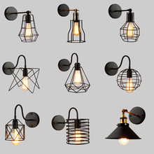 цена на Creative Iron BirdCage E27 Wall Lamp Retro American Country Industrial Wind Wall Light for Warehouse Restaurant Coffee Bar