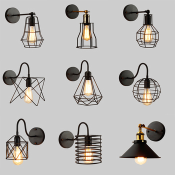Led Wall Light Retro Loft Industrial Wall Lamp Black E27 Vintage Sconces Wall Lamp Industrial Lighting Fixture Indoor цена 2017