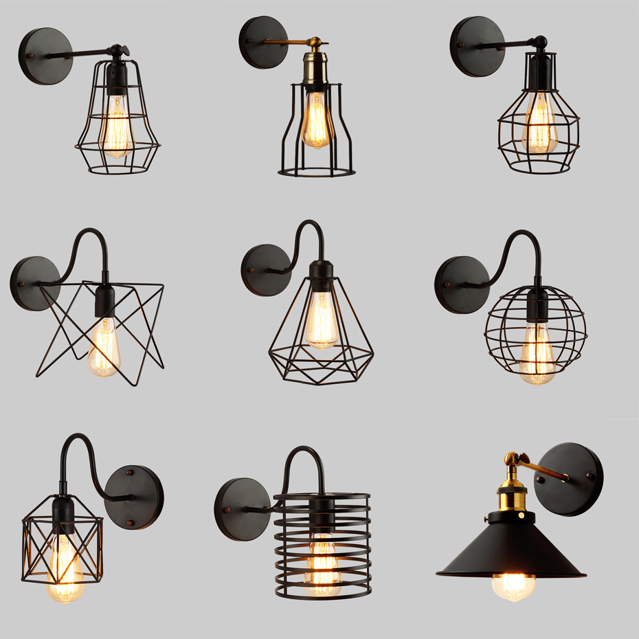 Vintage Iron BirdCage E27 Wall Lamp Retro American Country Industrial Wind Wall Light for Warehouse Restaurant Coffee BarVintage Iron BirdCage E27 Wall Lamp Retro American Country Industrial Wind Wall Light for Warehouse Restaurant Coffee Bar