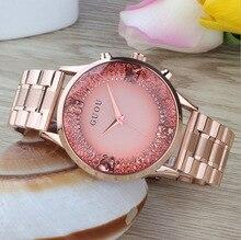 Marca de lujo de Calidad Del Hight de Las Mujeres de Oro de Acero Inoxidable de Cuarzo Resistente Al Agua Personalidad Hembra Rhinestone Reloj Del Vestido de Regalo