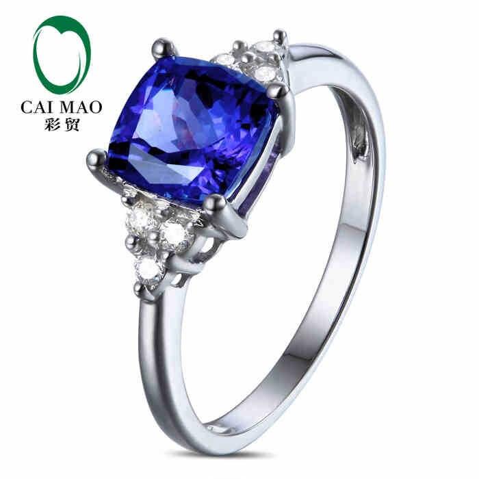 CaiMao 18KT/750 Белое золото 1,42 ct натуральный, если Синий танзанит AAA 0,12 ct полный разрез Diamond обручение Драгоценное кольцо ювелирные изделия