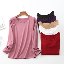 Women O-neck Cotton Tops Long Sleeve Casual t shirt  Basic Femme Camisetas Stretch T-shirt Solid Under & Tees D259
