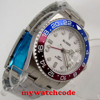 40mm bliger white dial sapphire glass GMT magnifying date automatic mens watch